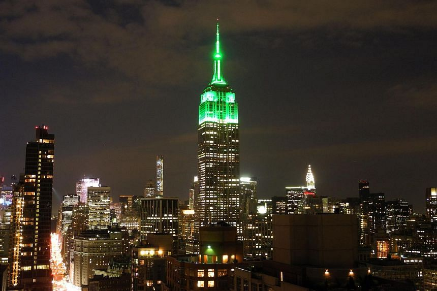 The Empire State Building lit in green to celebrate Hari Raya Aidilfitri.