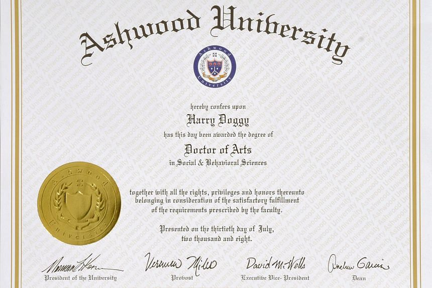 A 2008 photo of a scroll from Ashwood University, a degree mill which issues fake documents for a price.