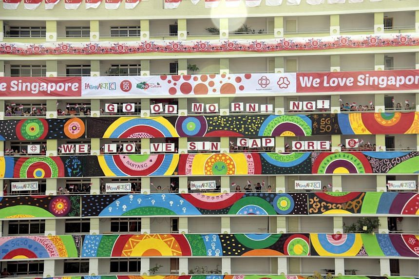 HDB blocks 837 and 839 in Jurong West Street 81 decorated with residents' artworks.