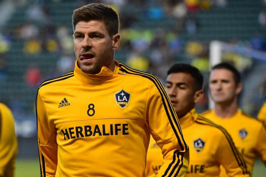Steven Gerrard of the LA Galaxy warms up with teammates on July 11, 2015.