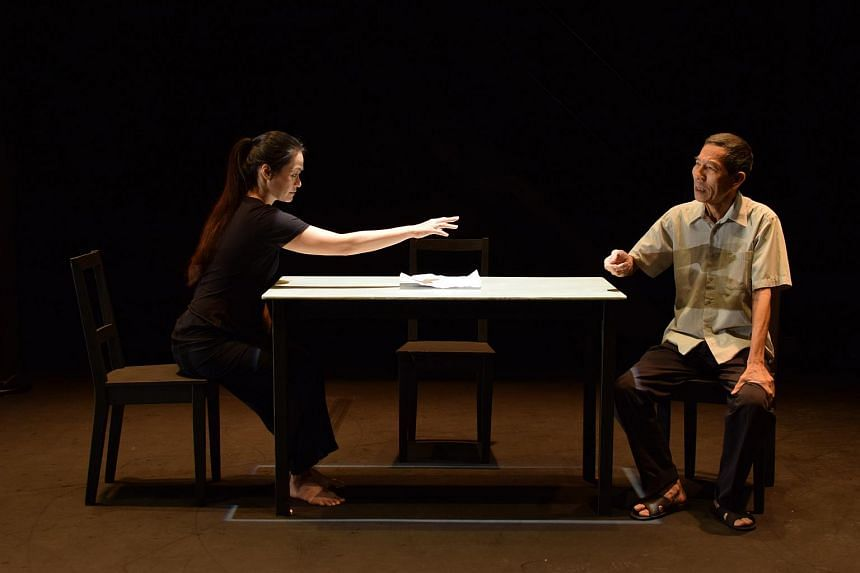 A scene from The Struggle: Years Later with actors Yong Ser Pin (right) and Kuo Jing Hong.