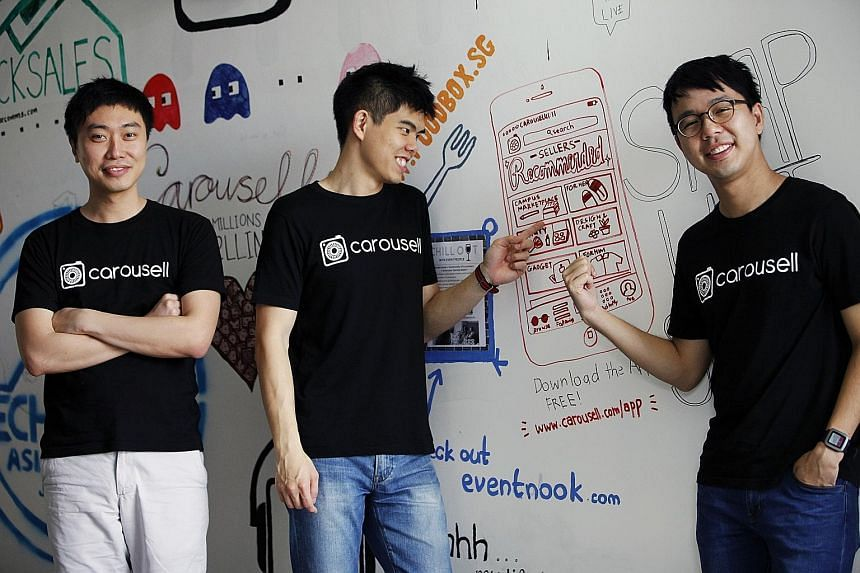 (From left) Carousell co-founders Lucas Ngoo, 26, Quek Siu Rui, 27, and Marcus Tan, 31. Carousell is the top lifestyle and shopping app here, and has more than six million items listed.