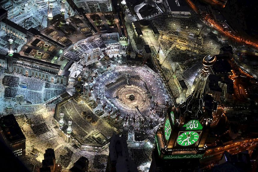 """An aerial view of Muslim worshippers praying at the Grand Mosque in the city of Mecca last Tuesday. Snapchat users were able to get a glimpse of Ramadan prayers during a live-stream by the social media giant last week. Over one million mentions of """"M"""