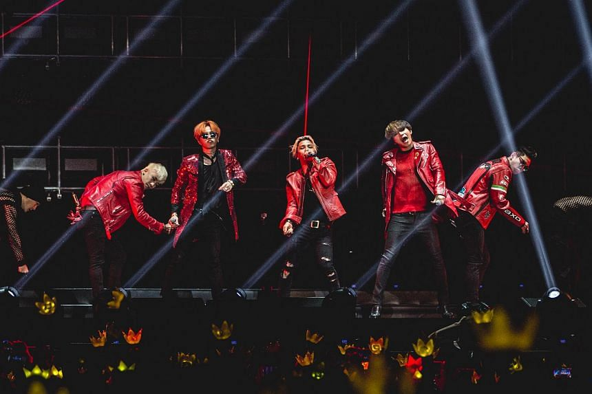 BigBang members (from left)  Seungri, G-Dragon,  Taeyang, Daesung and  T.O.P at the BIGBANG 2015 WORLD TOUR - MADE In SINGAPORE concert at the Singapore Indoor Stadium.