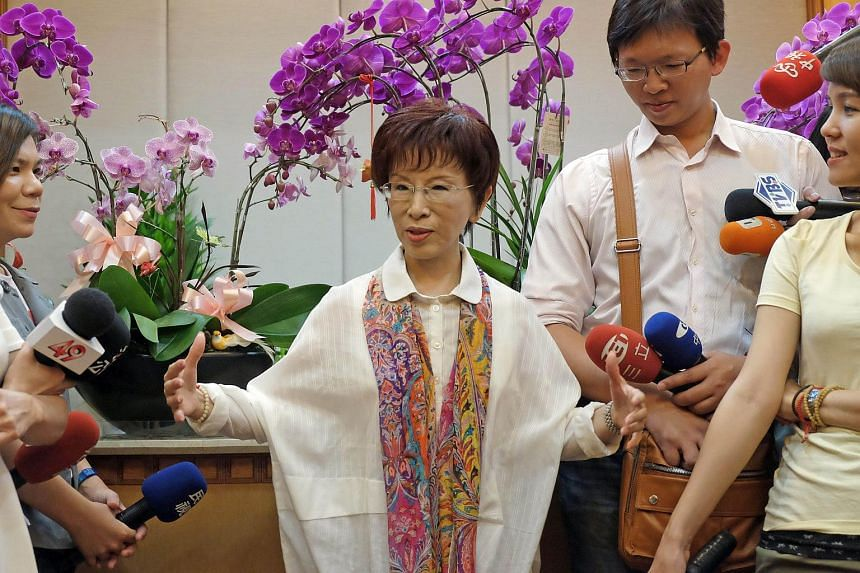 Taiwan's deputy parliamentary speaker Hung Hsiu-chu speaks to journalists at the parliament in Taipei on June 23, 2015.