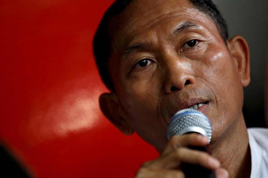 Ko Ko Gyi, a leader of student protests in Myanmar in 1988, speaks to the media during a news conference at the National League for Democracy (NLD) office in Yangon on June 15, 2015.