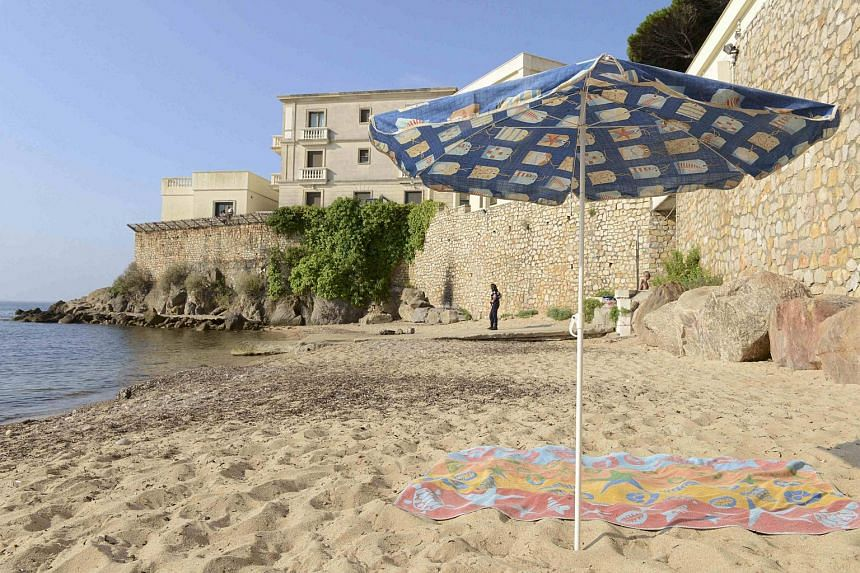 """Access to the small public beach called """"La Mirandole"""", which runs below the villa owned by King Salman, of Saudi Arabia, in Vallauris Golfe-Juan, France, was closed off for security measures for the Saudi royal family, who are staying there for thei"""