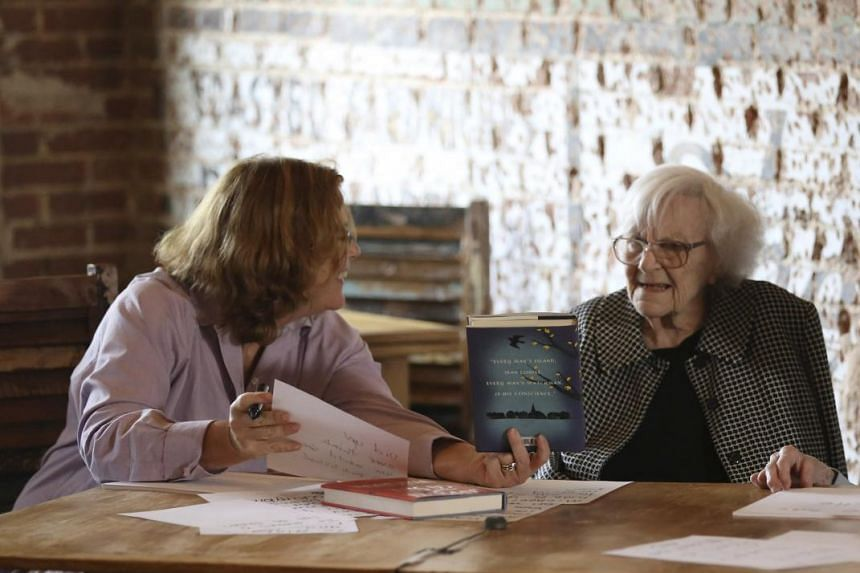American author Harper Lee (right) speaking to documentary film-maker and author Mary McDonagh Murphy (left) prior to the publication of Go Set A Watchman.