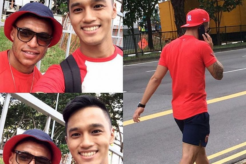A local fan could hardly believe his luck when he bumped into Gunners Alex Oxlade-Chamberlain, Calum Chambers and Wilshere (three-shot collage), who were lost along MacPherson Road. The fan helped the Arsenal stars out by getting a taxi for them.