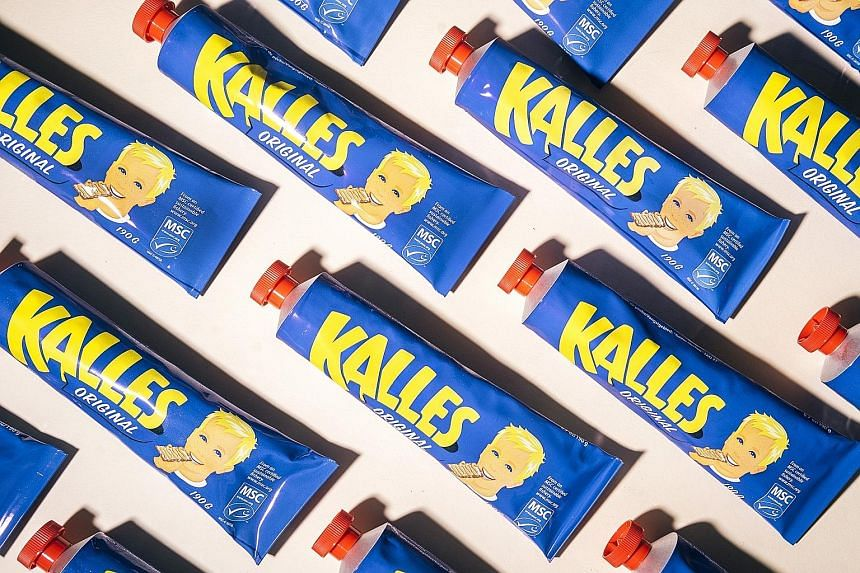 Kalles Kaviar is a salty and fishy pink spread made from cod roe and sold in bright blue tubes.