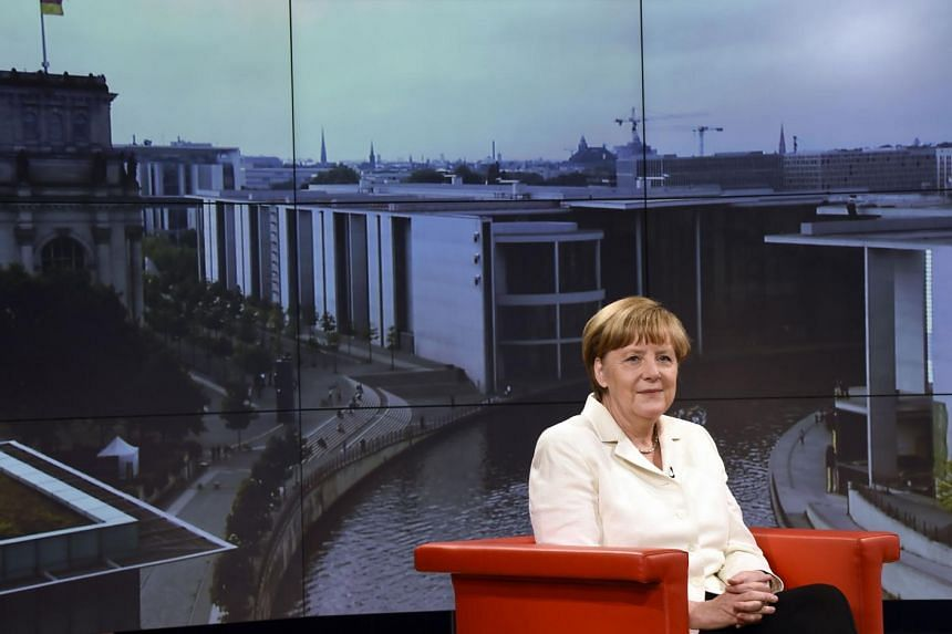 Angela Merkel at an interview with German public broadcaster ARD.