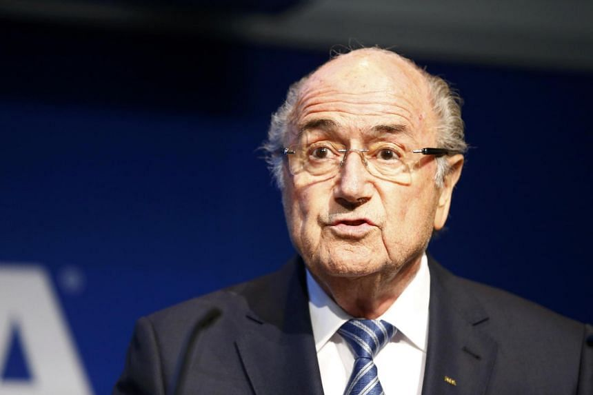 Fifa president Sepp Blatter speaking at a news conference in the ruling football body's Zurich headquarters.