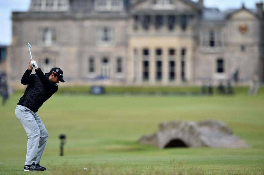 Australia's Jason Day plays from the 18th tee during his third round 67, on day four of the 2015 British Open Golf Championship.