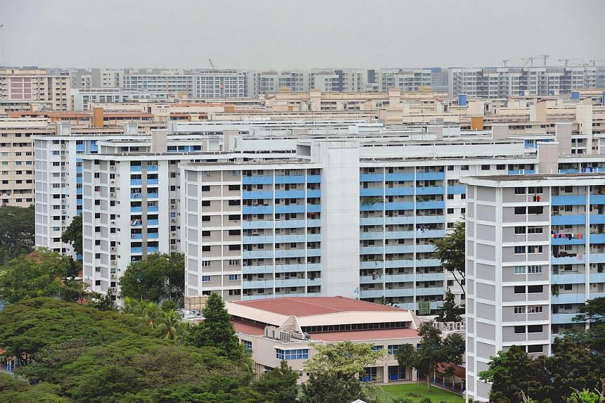 An aerial view of a block of flats in Bedok North.