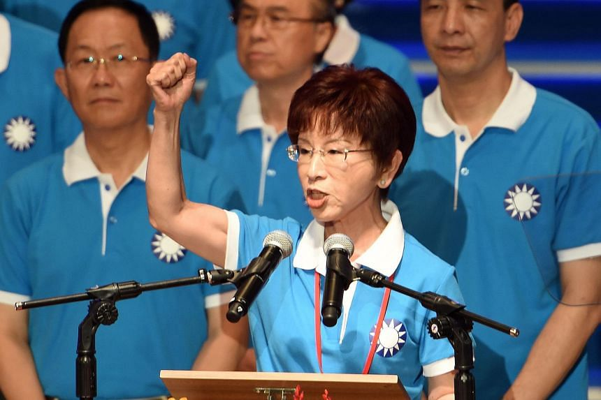 Hung Hsiu-chu, the KMT presidential candidate, gestures during the KMT's party congress in Taipei on July 19, 2015.