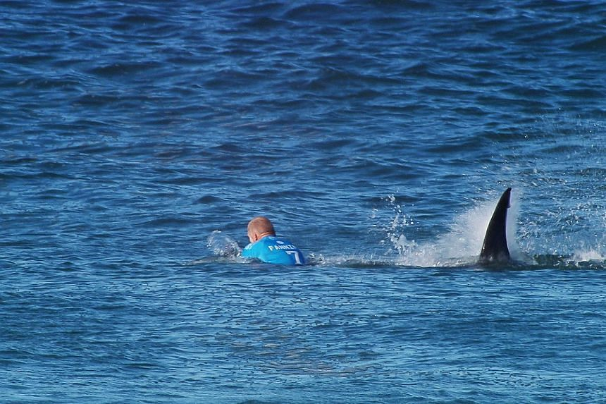 Mick Fanning is attacked by a shark during the finals of the J-Bay Open in Jeffrey's Bay, South Africa on July 19, 2015.