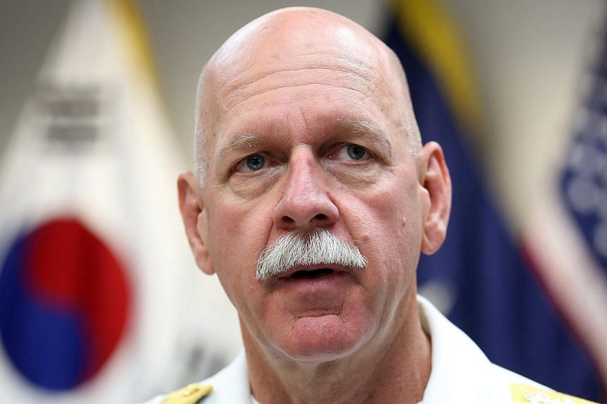 Admiral Scott Swift, the new US commander of the Pacific Fleet, holds an interview with South Korean and foreign news media at Yongsan Garrison in Seoul on July 20, 2015.