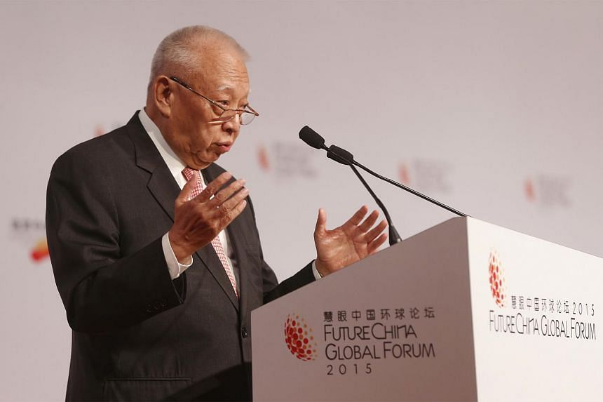 Chinese People's Political Consultative Conference vice-chairman Tung Chee Hwa, who was also a former Hong Kong chief executive, speaking at the opening plenary discussion of the FutureChina Global Forum at Shangri-La Hotel on July 20, 2015.