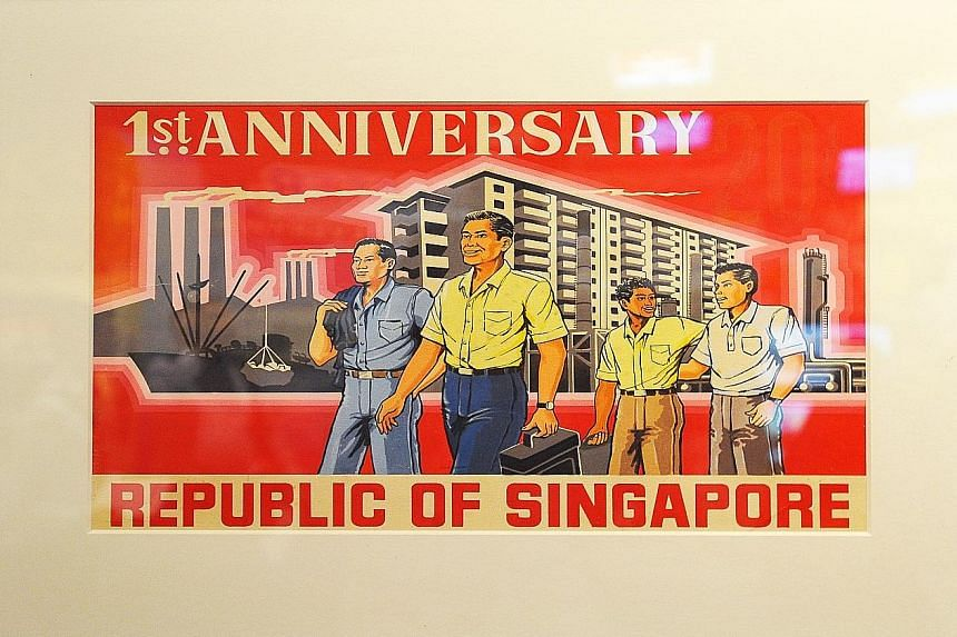 (Clockwise from top left) A first-day cover with stamps featuring the 1966 National Day Parade; the original artwork of the first stamp to be issued by the Republic in 1966; a printing plate of the 1999 stamp featuring Singapore's first president, Mr
