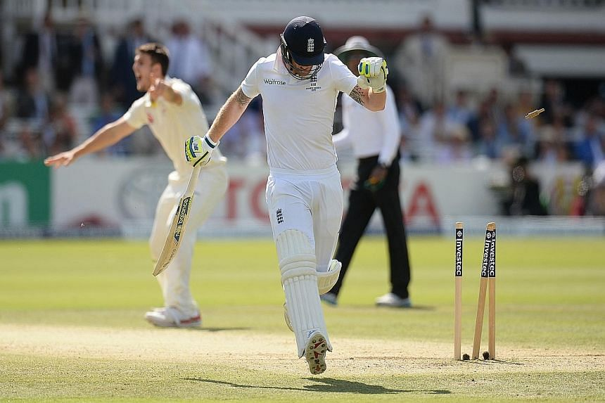 Ben Stokes' schoolboy error sees him run out for a duck after failing to ground his bat, as Mitchell Johnson's throw from mid-wicket hits the stumps. England's top-order batsmen again failed to fire but unlike in Cardiff in the first Test, the middle