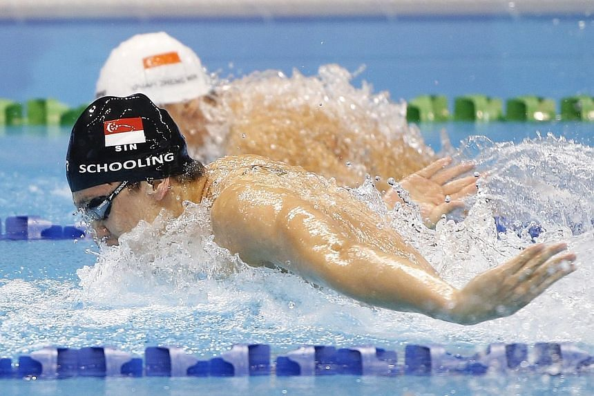 Much is expected of Singapore's top butterfly swimmers Joseph Schooling (front) and Quah Zheng Wen at the 2016 Olympics in Rio de Janeiro next August.