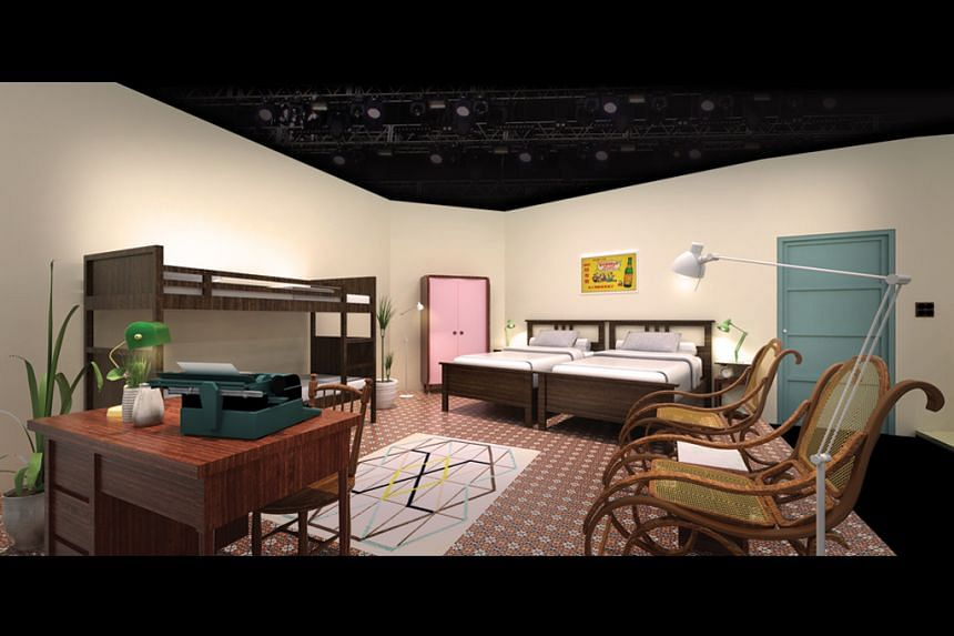 An artist's impression of the recreation of a 1960s apartment on the Esplanade Theatre stage.