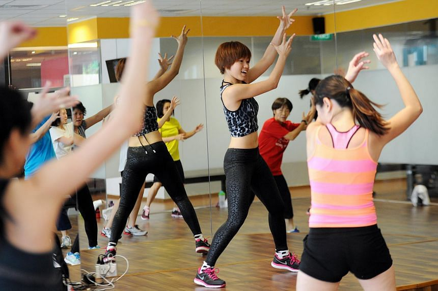 Participants at a KPopX Fitness class at Physical ABuse gym in Prinsep Street.