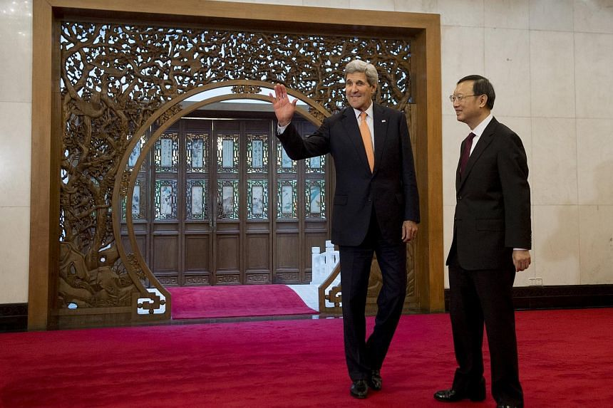 Chinese State Councilor Yang Jiechi and U.S. Secretary of State John Kerry before a meeting at Diaoyutai State Guesthouse in Beijing.