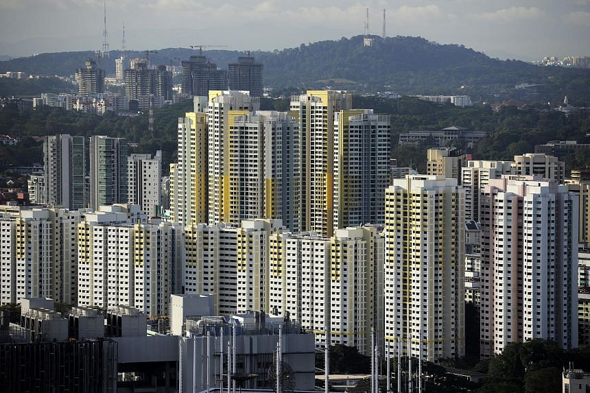 A public housing block stands in the Ghim Moh area of Singapore.