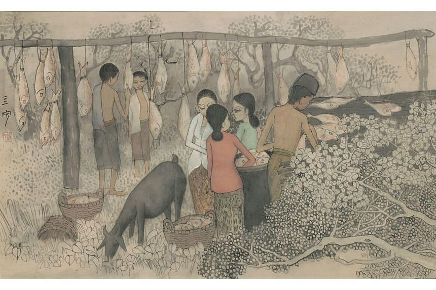 Drying Salted Fish by Cheong Soo Pieng