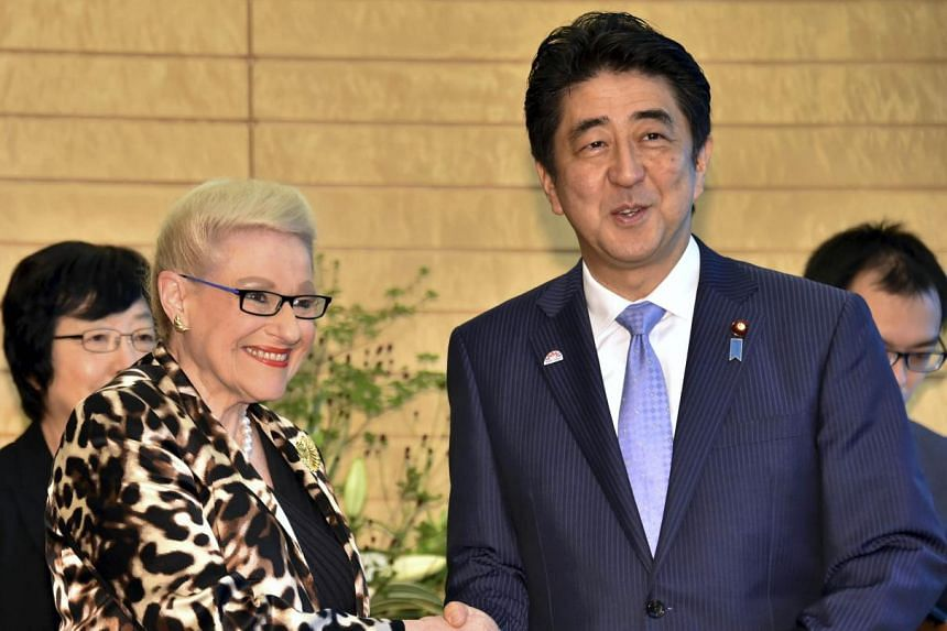 Mrs Bronwyn Bishop meeting Japanese Prime Minister Shinzo Abe during her 12-day trip to Asia last year that cost A$43,000 (S$43,400).