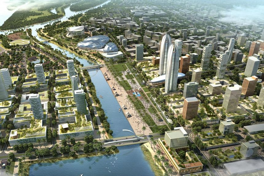 An artist's impression of the Andhra Pradesh seed development masterplan. Covering a 16.9 sq km area, it is the final of three masterplans, including one for the entire city and another for the capital region.