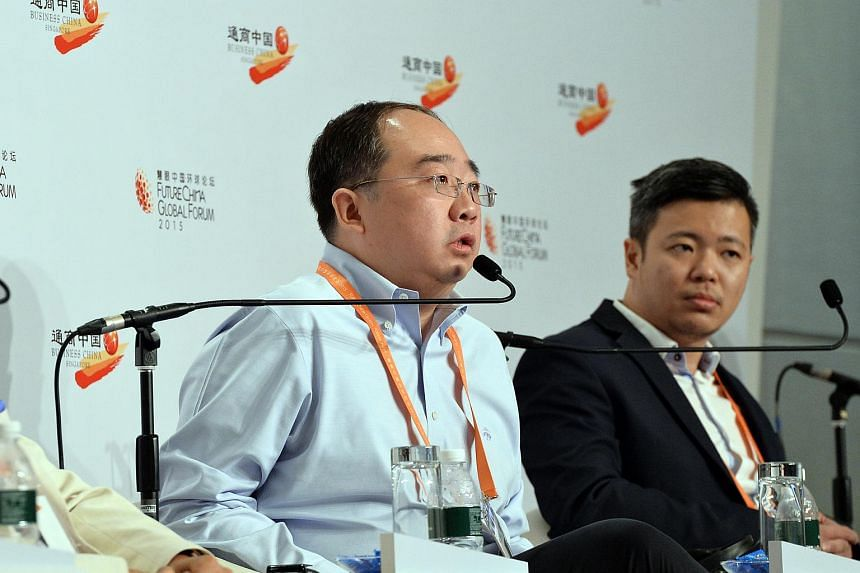 APUS Group CEO Tao Li speaking about the Internet sector in China at a panel discussion on entrepreneurship at the FutureChina Global Forum 2015.