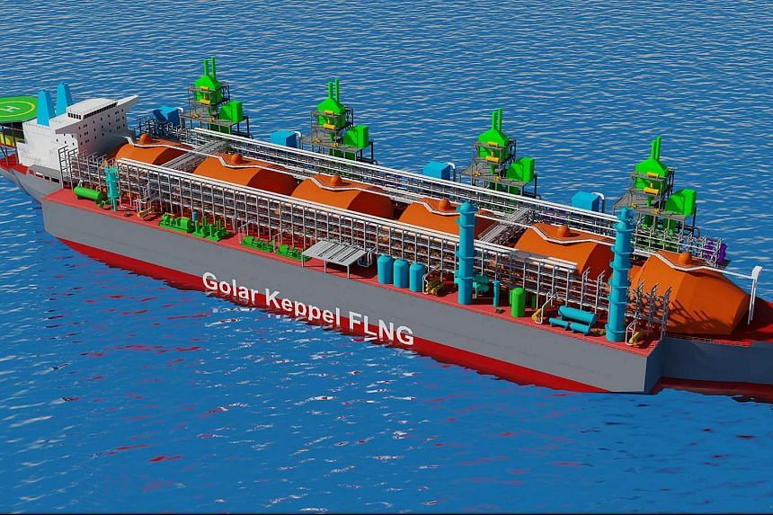 Image of the Golar Floating Liquefaction (GoFLNG) facility when the conversion is completed.
