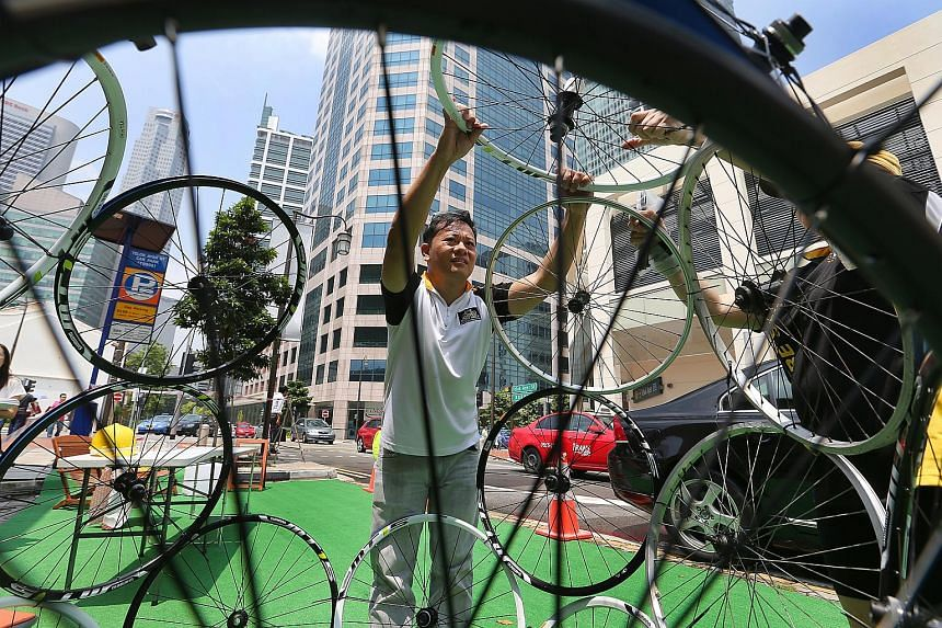 Bicycle wheels use to raise public awareness of cycling safety.