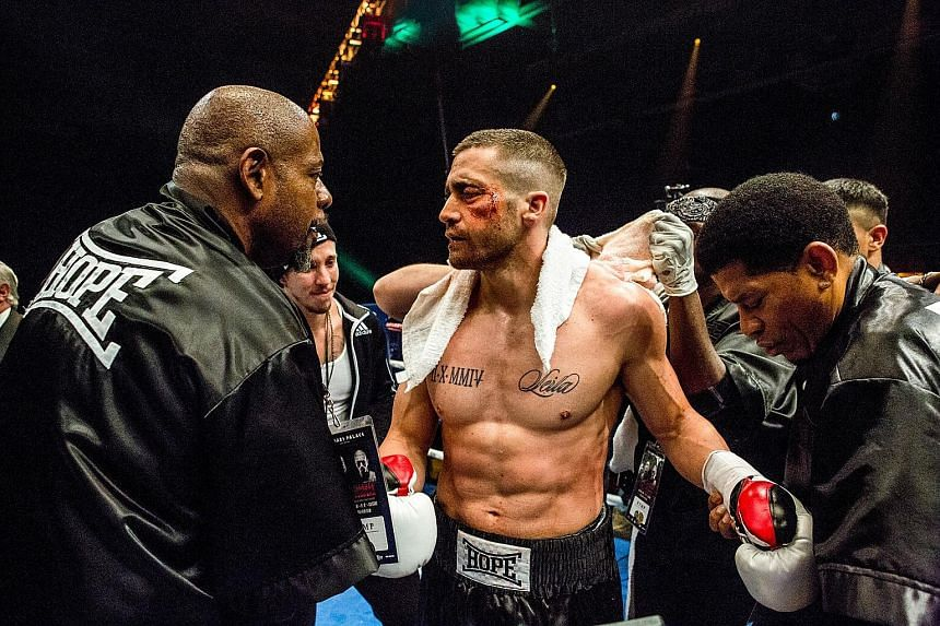 Jake Gyllenhaal (above) plays a boxer who has to fight to regain custody of his daughter in Southpaw.