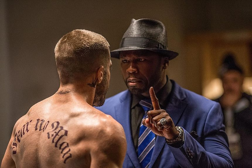 Rapper 50 Cent (left) plays the manager of Jake Gyllenhaal's boxer character in Southpaw.