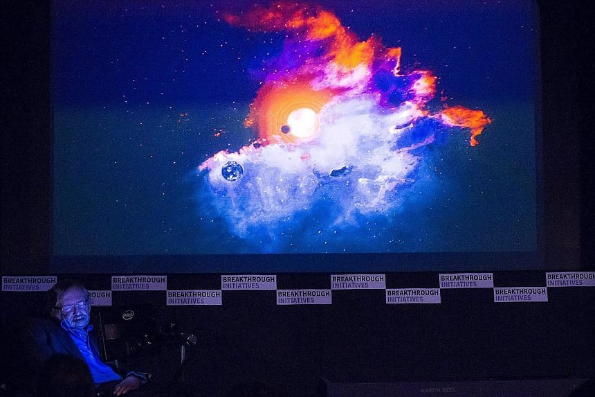 Prof Stephen Hawking at an event to launch the Breakthrough Listen endeavour in London on Monday. He said some form of simple life on other worlds seemed very likely, but the existence of intelligence was another matter.