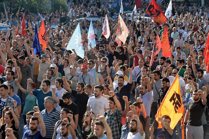Hundreds of people in Turkey took to the streets on Monday in protest against a suicide attack in a town on the border with Syria. The attack, which killed 31, has been blamed on ISIS extremists.