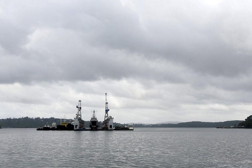 A floating dock of the Indian navy is pictured at the naval base at Port Blair in Andaman and Nicobar Islands, India, July 1, 2015.