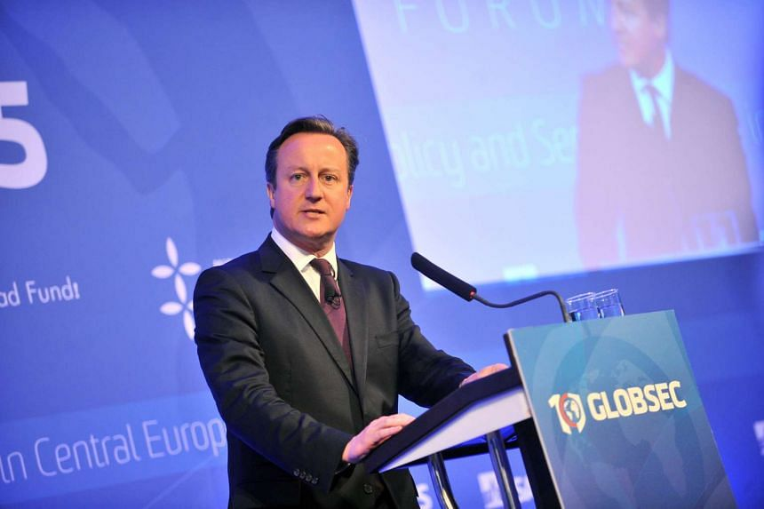 British Prime Minister David Cameron gives a speech during the GLOBSEC Forum security conference on June 19, 2015 in Bratislava, Slovakia.