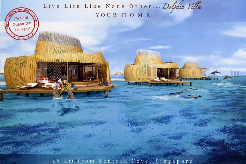Artist's impression of Dolphin Villa, part of the Fantasy Island development built over the sea in the midst of a cluster of 6 islands called Pulau Manis, 3km off Batam.