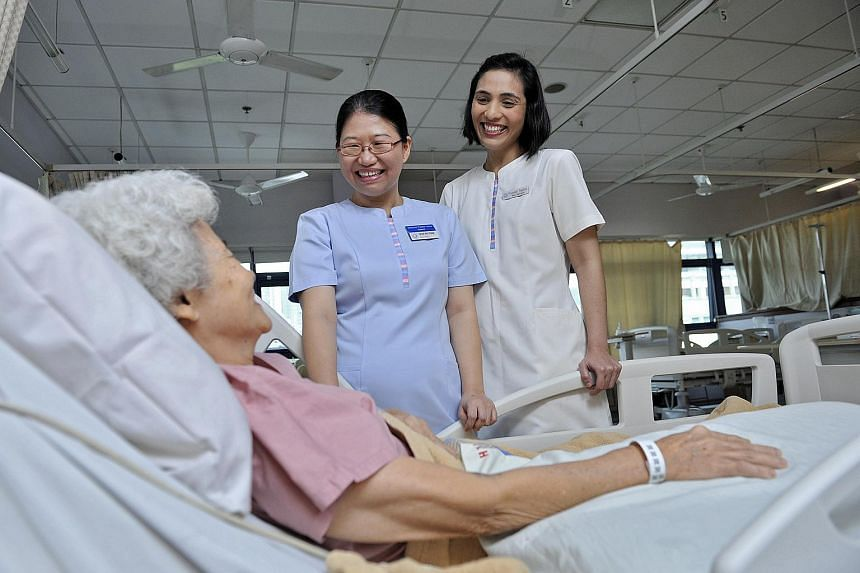 Staff from KK Women's and Children's Hospital (KKH).The hospital was on Wednesday given a special SG50 award to recognise its efforts in facilitating flexible work arrangements .