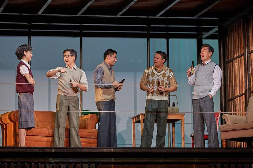 (Left to right) Sharon Au, Tan Shou Chen, Edward Choy, Jonathan Lum and Adrian Pang in The LKY Musical.