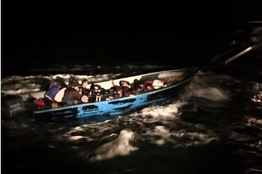 The boat carrying 36 illegal immigrants - 33 men and three women.