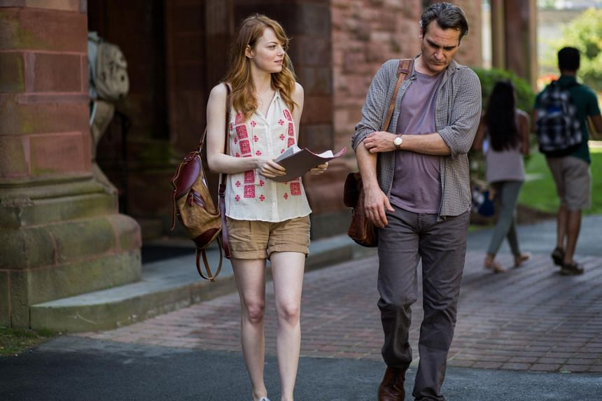 Emma Stone and Joaquin Phoenix (above) in Irrational Man; and Cara Delevingne and Nat Wolff in Paper Towns.