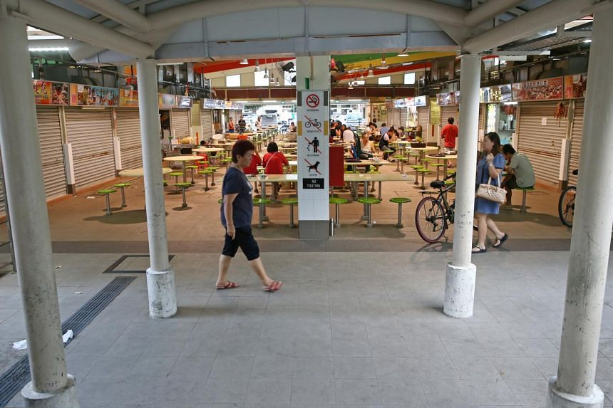 The hawker centre in Bedok North where the slashed man ended up.