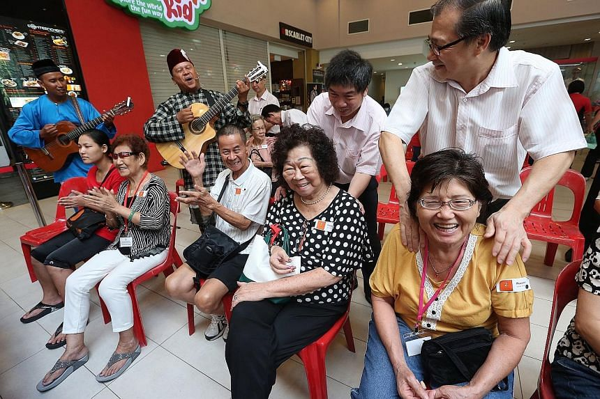 It was a bright and cheery morning of free massages, haircuts and health screenings for some 80 elderly residents from Ang Mo Kio GRC yesterday. The seniors, who are under the care of Thye Hua Kwan Moral Society, also had a wholesome breakfast at NTU