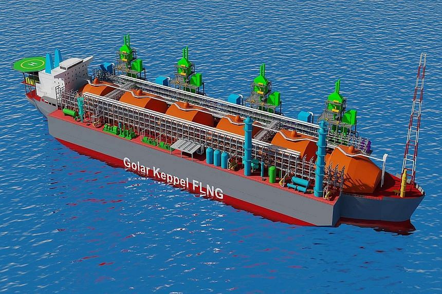 Keppel's contract to convert this liquefied natural gas carrier (above) into a Golar floating liquefaction facility will be its third for shipowner Golar Gandria, a subsidiary of Golar LNG, one of the world's largest independent owners and operators