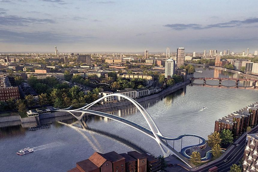 British firm Buro Happold's design (above) is one of the four that have been short-listed. All four feature curving walkways, tall suspension towers and minimalist architecture.